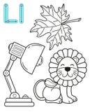 Voor het drukken geschikte kleurende pagina voor kleuterschool en kleuterschool Kaart voor studie het Engels Vector het kleuren b royalty-vrije illustratie