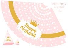 Voor het drukken geschikte partijhoeden v Roze en gouden prinsespartij vector illustratie