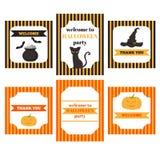 Voor het drukken geschikte reeks Halloween-partijelementen Malplaatjes, etiketten, pictogrammen en omslagen met pompoen, kat, hoe royalty-vrije illustratie