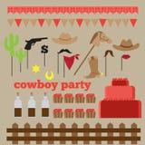 Voor het drukken geschikte reeks uitstekende elementen van de cowboypartij Stock Afbeeldingen