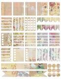 Voor het drukken geschikte Sjofele elegante uitstekende de ontwerpersstickers van de stijlcollage Stock Afbeeldingen