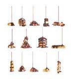 Voor koekjes, chocolade die, noten stroom van chocoladecollectio gieten royalty-vrije stock fotografie