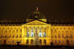 Voor koninklijke Palais van Brussel in de tijd van Kerstmis Stock Foto's