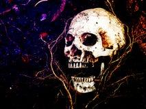 Voor menselijke schedel die in de grond met de wortels van wordt begraven Stock Foto's
