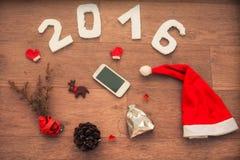 2016 voor Nieuwjaar en Kerstmisontwerp Stock Afbeeldingen