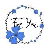 Voor u die met bloemenkroon van letters voorzien Stock Fotografie