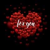 Voor u Hand het Van letters voorzien Groet op rood hart Romantisch citaat BR royalty-vrije stock foto