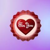 Voor u Pictogram met Hartvorm wordt op Violet Background Valentines Day Concept wordt geïsoleerd verfraaid die stock illustratie