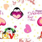 Voor vakantie, de Dag van Valentine ` s met vakantiepinguïnen en inschrijvingen Royalty-vrije Stock Foto's