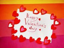 Voor van de de Daginschrijving van Valentine de Dag en de harten van Gelukkig Valentine vector illustratie