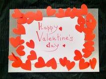 Voor van de de Daginschrijving van Valentine de Dag en de harten van Gelukkig Valentine royalty-vrije illustratie
