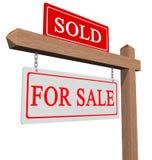 Voor verkoop en verkocht teken Stock Foto's