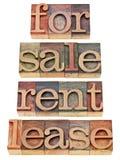 Voor verkoop, huur, huur Royalty-vrije Stock Afbeeldingen