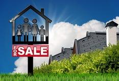 Voor Verkoop - ModelHouse met een Familie Royalty-vrije Stock Foto