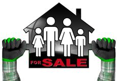 Voor Verkoop - ModelHouse met een Familie Royalty-vrije Stock Afbeeldingen