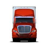 Vooraanzicht het teruggeven van rode en witte semi-vrachtwagen Stock Afbeeldingen