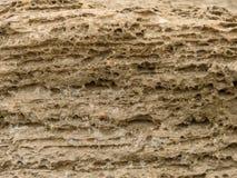 Vooraanzicht van de natuurlijke achtergrond van geel kalksteen met de hobbelige oppervlakte met donkere holten die door het overz royalty-vrije stock fotografie