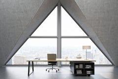 Vooraanzicht van een CEO bureau met driehoekig venster royalty-vrije illustratie