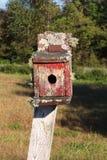 Vooraanzicht van een oud vogelhuis met schilverf en mos Royalty-vrije Stock Afbeeldingen