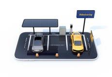Vooraanzicht van elektrische auto's met zonnepanelen, het laden posten en batterij op smartphone stock illustratie