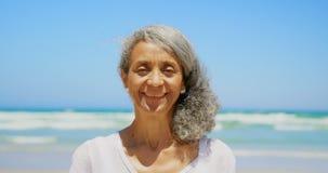 Vooraanzicht van gelukkige actieve hogere Afrikaanse Amerikaanse vrouw status op strand in de zonneschijn 4k stock video