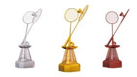 Vooraanzicht van van het badminton gouden zilver en brons trofeeën in oneindige omwenteling royalty-vrije illustratie