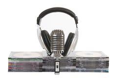 Vooraanzicht van hoofdtelefoons, uitstekende microfoon Stock Foto's