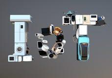 Vooraanzicht van IoT-tekst door slimme toestellen wordt samengesteld dat Royalty-vrije Stock Fotografie