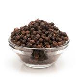 Vooraanzicht van Kom Organische Zwarte peper Royalty-vrije Stock Foto