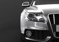Vooraanzicht van luxeauto op een zwarte achtergrond Stock Afbeeldingen
