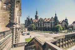 Vooraanzicht van magische straat in Dresden Stock Afbeelding