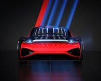 Vooraanzicht van metaal rode elektrische auto in parkeerterrein met koele verlichting op de muur stock illustratie