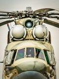 Vooraanzicht van Russische militaire helikopter. Stock Foto's