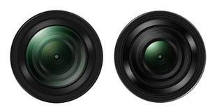 Vooraanzicht van Twee DSLR cameralens op wit wordt geïsoleerd dat Stock Foto