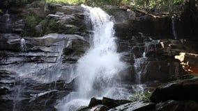 Vooraanzicht van waterval in tropisch bos in Thailand stock video
