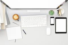Vooraanzicht van workpark met het lege witte computerscherm, koffiekop, en boek in het huiswerk spot omhoog, 3d geef terug Royalty-vrije Stock Fotografie