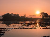 Vooraanzicht van zonsondergang Royalty-vrije Stock Foto's