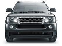 Vooraanzicht van zwarte suvauto Stock Foto's