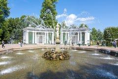 Vooravondfontein in het lagere park van Peterhof, Heilige Petersburg, Rusland royalty-vrije stock fotografie