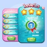 Voorbeeld van de voltooiing van het vensterniveau voor een computerspel in beeldverhaalstijl royalty-vrije illustratie