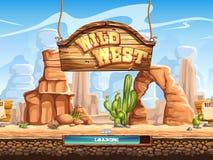 Voorbeeld van het ladingsscherm voor een Wild Westen van het computerspel Stock Foto's