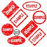 Voorbeeldreeks rode ronde en vierkante rubberzegels Stock Foto