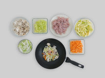 Voorbereide ingrediënten voor wok Royalty-vrije Stock Afbeeldingen