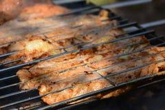 Voorbereiding, het Koken kebabs op houtskool openlucht stock afbeelding