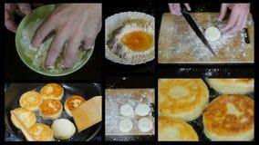 Voorbereiding van donuts, collage stock footage