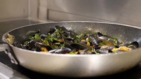 Voorbereiding van mosselen De chef-kok kookt mosselen met witte wijn Langzame Motie stock footage