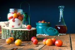Voorbereiding van pruimen met suiker in kruiken voor de winter Royalty-vrije Stock Afbeelding
