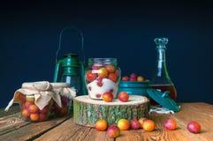 Voorbereiding van pruimen met suiker in kruiken voor de winter Royalty-vrije Stock Foto's