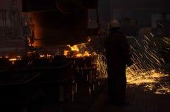 Voorbereiding van staal voor het gieten van en het maken van afgietsels Stock Foto