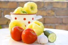Voorbereiding van verse groenten Stock Afbeeldingen